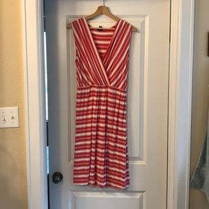 Merona coral and white striped dress